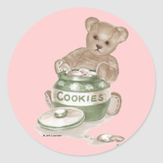 Teddy Bear Cookie Jar Classic Round Sticker