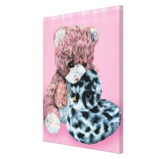 Teddy bear cuddles canvas wrap pink print
