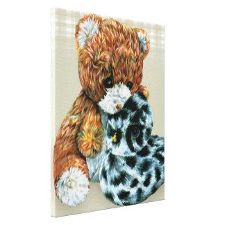 Teddy bear cuddles canvas wrap print canvas print