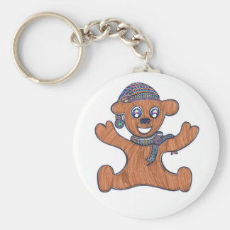 Teddy Bear Cuddles Basic Round Button Keychain