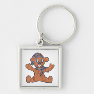 Teddy Bear Cuddles Silver-Colored Square Keychain