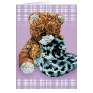 Teddy bear cuddles purple blank everyday card