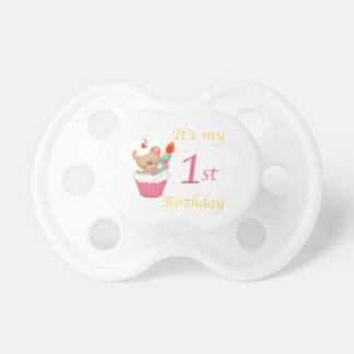 Teddy Bear Cupcake 1st Birthday Pacifier