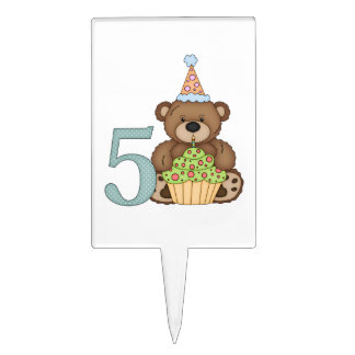 Teddy Bear Cupcake Kids 5th Birthday Customizable Cake Topper