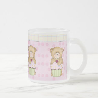 Teddy Bear Cupcake Party 10 Oz Frosted Glass Coffee Mug