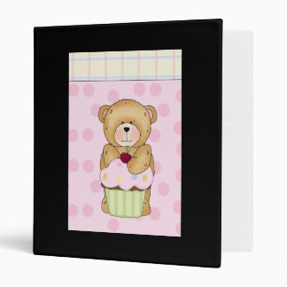 Teddy Bear Cupcake Party 3 Ring Binder