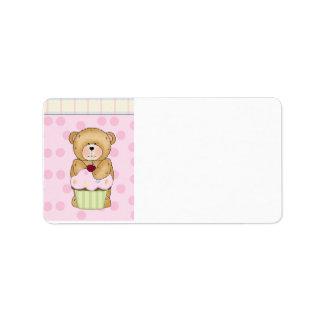 Teddy Bear Cupcake Party Address Label