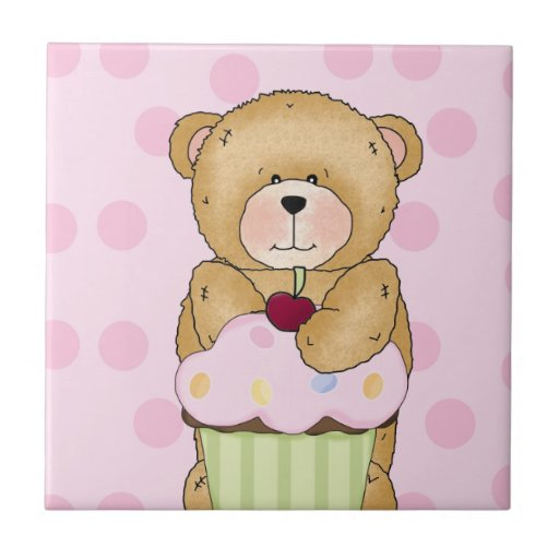Teddy Bear Cupcake Party Small Square Tile