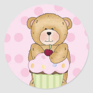 Teddy Bear Cupcake Party Stickers