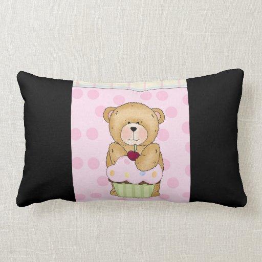 Teddy Bear Cupcake Party Throw Pillows