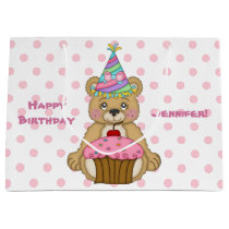 Teddy Bear Cupcake Pink Personalized Large Gift Bag