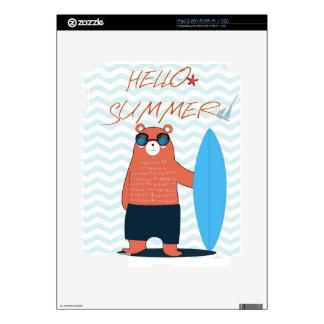 Teddy bear cute adorable beach funny theme decal for the iPad 2