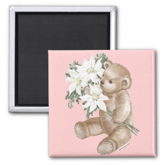 Teddy Bear Daisy Bouquet 2 Inch Square Magnet