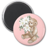 Teddy Bear Daisy Bouquet Fridge Magnet