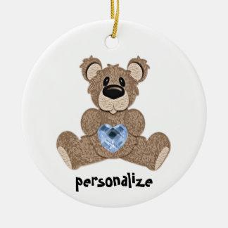 Teddy Bear December Birthstone Ornament