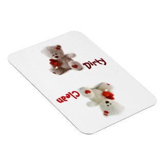 Teddy Bear Dirty Clean Flexible Magnet