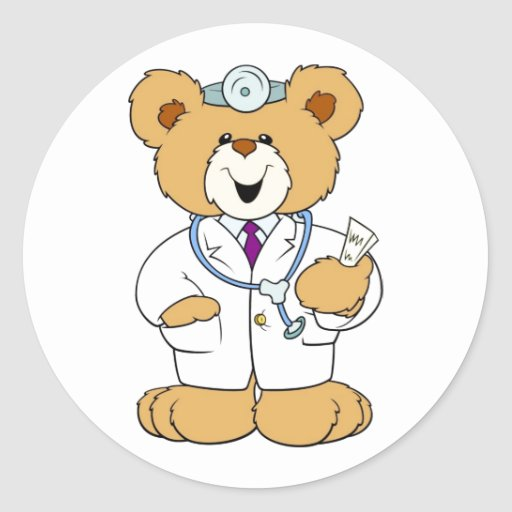 Teddy bear doctor round stickers zazzle for Stickers juveniles