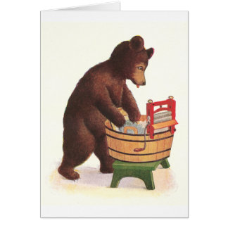 Teddy Bear Does the Laundry Greeting Card