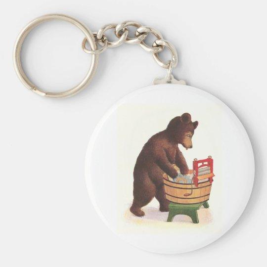 Teddy Bear Does the Laundry Keychain