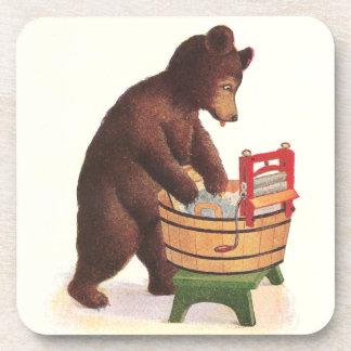 Teddy Bear Doing Laundry Beverage Coaster