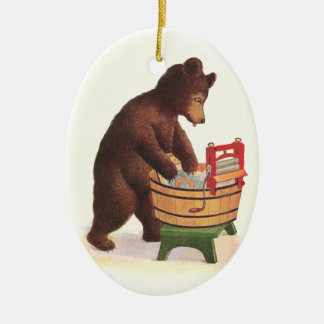 Teddy Bear Doing Laundry Ceramic Ornament