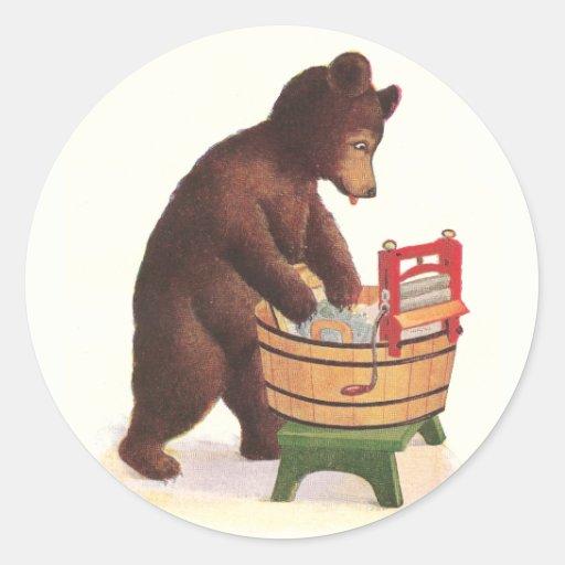 Teddy Bear Doing Laundry Classic Round Sticker