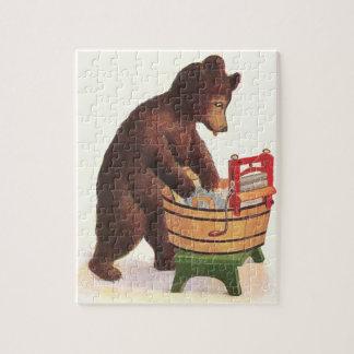 Teddy Bear Doing Laundry Jigsaw Puzzle