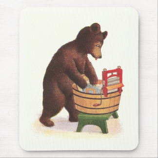 Teddy Bear Doing Laundry Mouse Pad