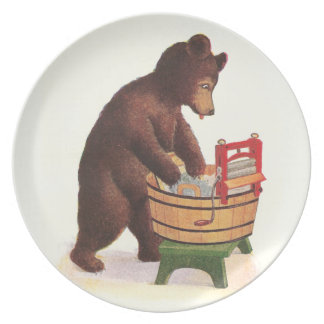 Teddy Bear Doing Laundry Party Plates