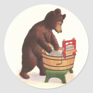 Teddy Bear Doing Laundry Classic Round Sticker