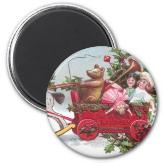 Teddy Bear, Dolls and Wagon Vintage Christmas Magnet