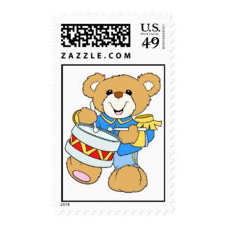Teddy Bear Drummer Postage Stamps