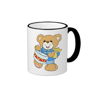 Teddy Bear Drummer Ringer Mug