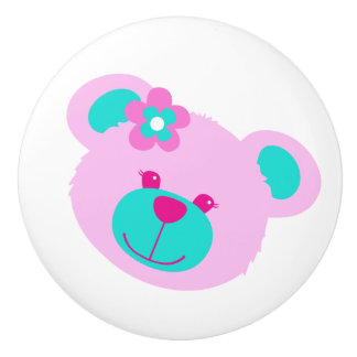 Teddy bear face pink aqua art doorknob ceramic knob