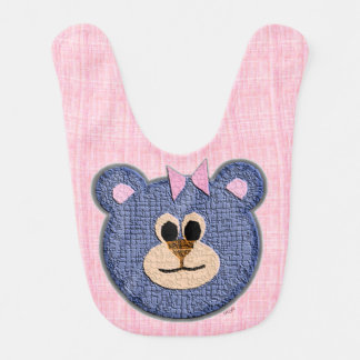 Teddy Bear Face (pink background) Bib
