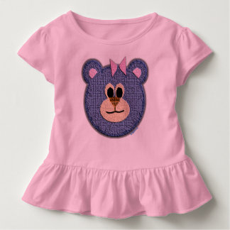 Teddy Bear Face (pink bow) Toddler T-shirt