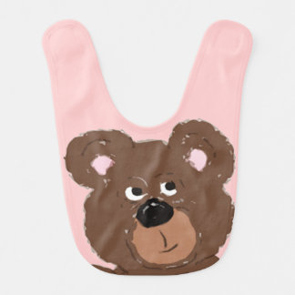 Teddy Bear Face Pink (customize) Bib