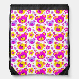 Teddy bear faces & flowers pattern drawstring bag