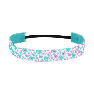 Teddy bear faces pink aqua patterned hairband athletic headband