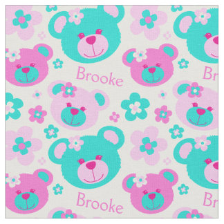 Teddy bear faces pink aqua white pattern fabric