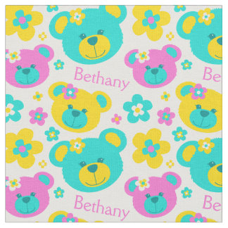 Teddy bear faces pink aqua yellow pattern fabric