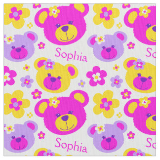 Teddy bear faces pink purple yellow white pattern fabric