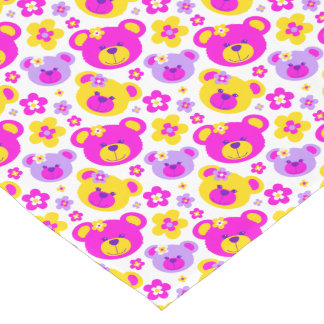 Teddy bear faces pink yellow white table runner