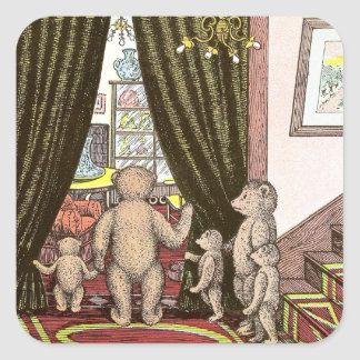 Teddy Bear Family at the Foot of the Stairs Square Sticker