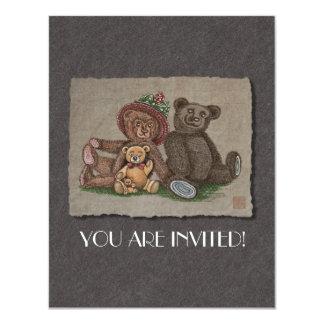 """Teddy Bear Family 4.25"""" X 5.5"""" Invitation Card"""