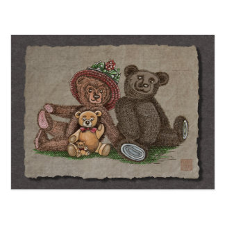 Teddy Bear Family Postcard
