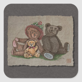 Teddy Bear Family Square Sticker