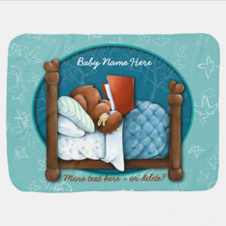 Teddy Bear. Feather Bed. Book. Personalized Receiving Blanket