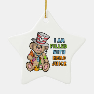 Teddy Bear Filled with Hero Juice Ceramic Ornament
