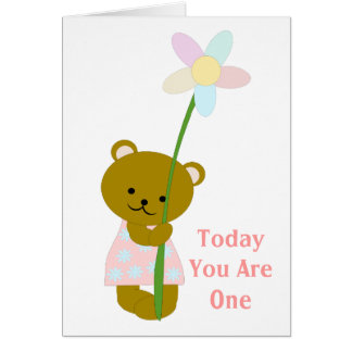 Teddy Bear First Birthday Card